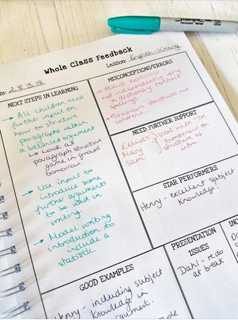 Whole class marking feedback